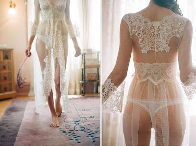 Con este conjunto de lencería la novia acabará el día muy sexy. toda envuelta de encaje.