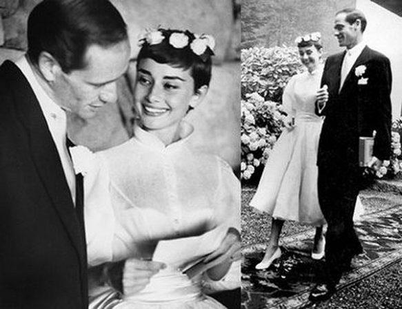Audrey Hepburn lució un vestido con falda corola en su boda con Mel Ferrer el 26 de Septiembre de 1954