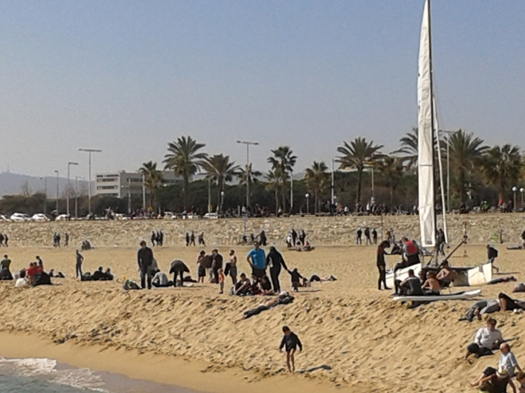 Así estaba la playa de Barcelona.